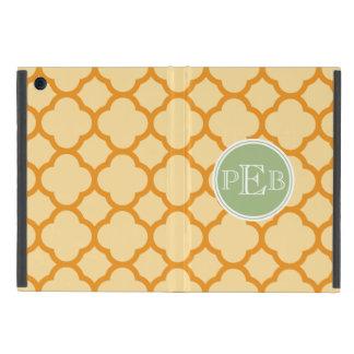 Caramel color Quatrefoil Pattern Monogram iPad Mini Cover