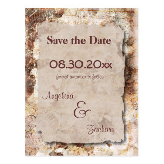 Caramel Floral Save The Date Wedding Post Card