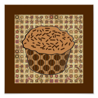Caramel Frosted Cupcake with Sprinkles Poster