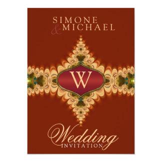 Caramel Lace Monogram Wedding Invitations