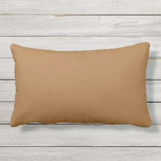 Caramel Light Brown Outdoor Lumbar Throw Pillow