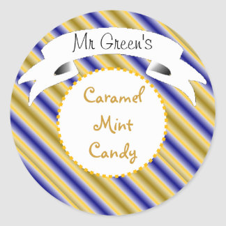 Caramel mint candy striped label classic round sticker
