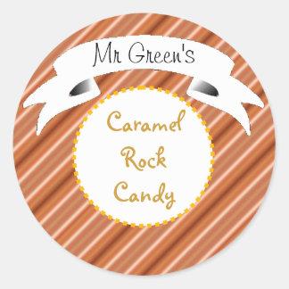 Caramel rock candy striped label classic round sticker