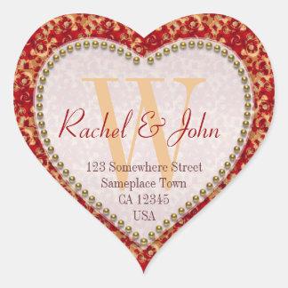 Caramel Rust Pattern Monogrammed Heart Wedding Heart Sticker