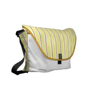 Caramel yellow and brown Stripes Messenger Bag