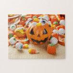 Caramelo anaranjado fantasmagórico de Halloween Puzzle
