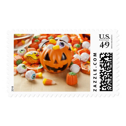 Caramelo anaranjado fantasmagórico de Halloween Sello