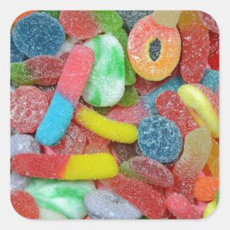 Caramelo cauchutoso clasificado colorido pegatina cuadrada