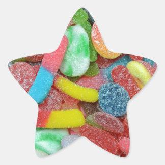 Caramelo cauchutoso clasificado colorido pegatina en forma de estrella