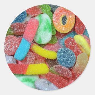 Caramelo cauchutoso clasificado colorido pegatina redonda
