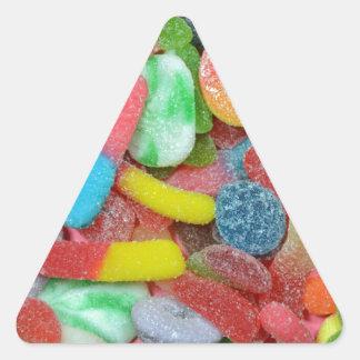 Caramelo cauchutoso clasificado colorido pegatina triangular