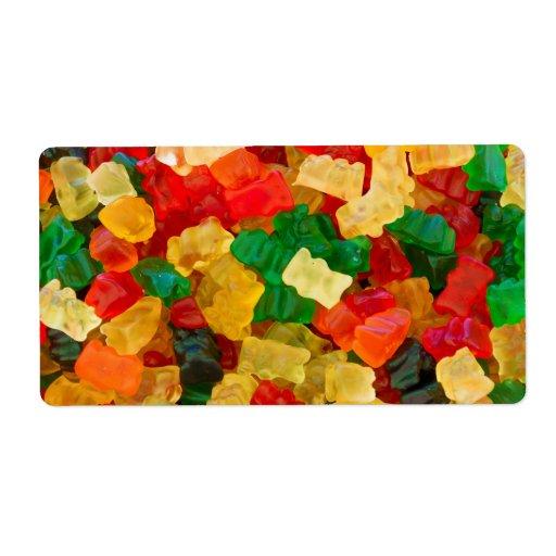 Caramelo coloreado arco iris gomoso del oso etiqueta de envío