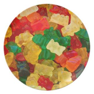 Caramelo coloreado arco iris gomoso del oso platos para fiestas
