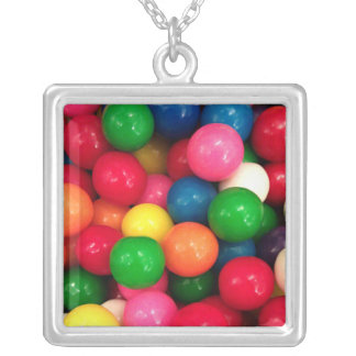 Caramelo colorido de la bola de goma collar plateado
