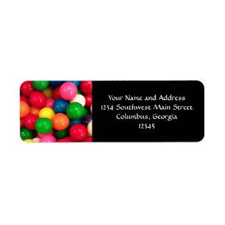 Caramelo colorido de la bola de goma etiquetas de remite