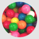 Caramelo colorido de la bola de goma etiqueta redonda