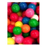 Caramelo colorido de la bola de goma tarjetas postales