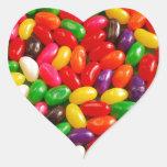 Caramelo colorido del jellybean pegatina en forma de corazón