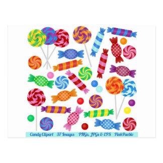 caramelo colorido tarjetas postales