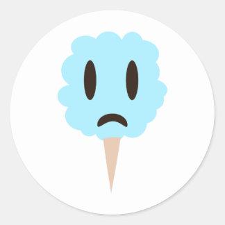 Caramelo de algodón azul pegatina redonda