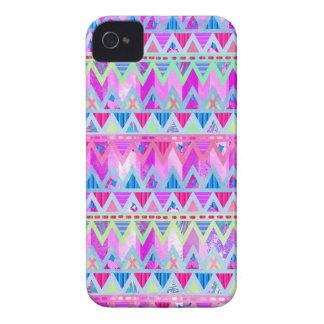 Caramelo de algodón azul rosado brillante azteca iPhone 4 cárcasas