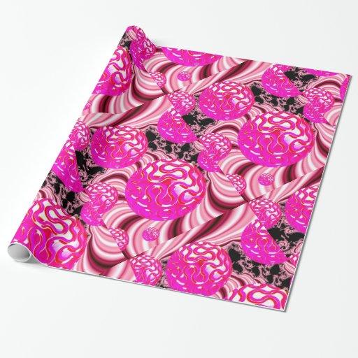 Caramelo de algodón, blanco subió rosa abstracto papel de regalo