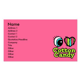 Caramelo de algodón brillante del amor del corazón tarjetas de visita