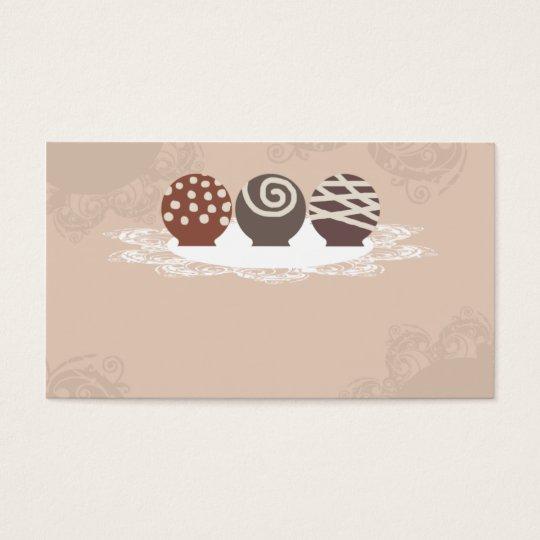 caramelo de chocolate de las trufas que hace el tarjetas de visita