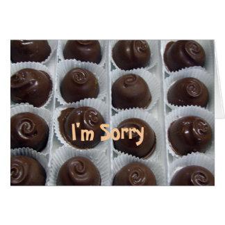 Caramelo de chocolate lo siento tarjeta de felicitación