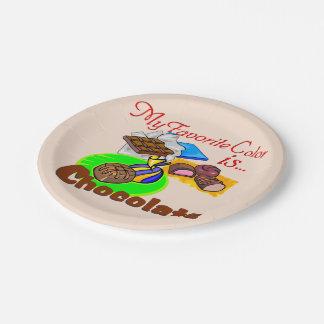 Caramelo de chocolate preferido del color platos de papel