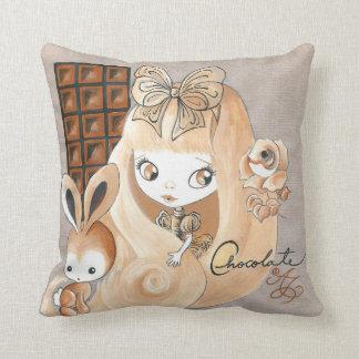 Caramelo de chocolate y conejito y chica almohadas