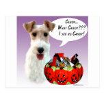 Caramelo de Halloween del fox terrier del alambre Postal