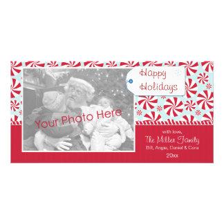 Caramelo de hierbabuena rojo y día de fiesta azul  tarjeta fotográfica personalizada