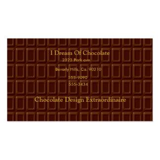Caramelo de la barra de chocolate tarjetas de visita