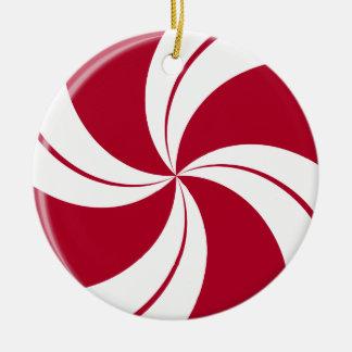 Caramelo de la raya del remolino de la hierbabuena adorno navideño redondo de cerámica