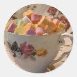 Caramelo de la tarjeta del día de San Valentín y Pegatina Redonda