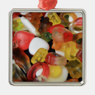 Caramelo de los dulces adorno cuadrado plateado