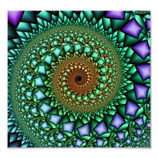 Caramelo de roca - arte abstracto del fractal póster