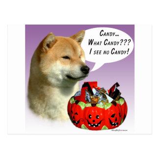 Caramelo de Shiba Inu Halloween Postal