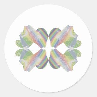 Caramelo del fractal de la tela a rayas pegatina redonda