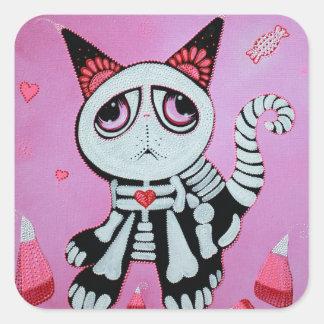 Caramelo del gato del gatito calcomanía cuadradas