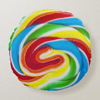 caramelo del lollipop del remolino cojín redondo