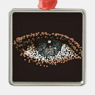caramelo del ojo adorno cuadrado plateado