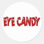 Caramelo divertido del ojo pegatinas redondas