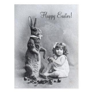 Caramelo enorme de Pascua del chica del Victorian Postales