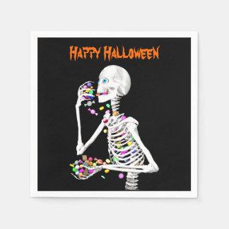 Caramelo esquelético de la consumición Halloween Servilletas Desechables