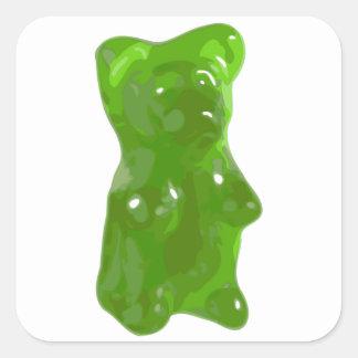 Caramelo gomoso verde del oso pegatina cuadrada