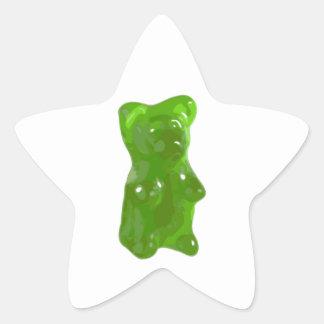Caramelo gomoso verde del oso pegatina en forma de estrella