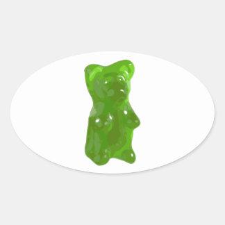 Caramelo gomoso verde del oso pegatina ovalada