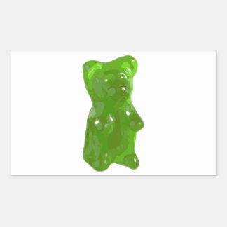 Caramelo gomoso verde del oso pegatina rectangular